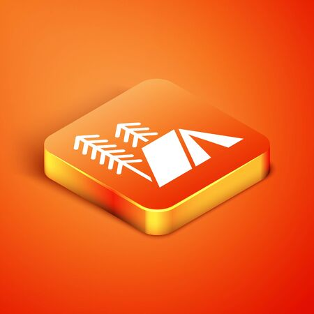Isometric Tourist tent icon isolated on orange background. Camping symbol. Vector Illustration