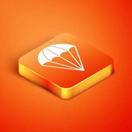 Isometric Parachute icon isolated on orange background. Vector Illustration