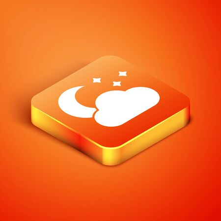 Isometric Cloud with moon and stars icon isolated on orange background. Cloudy night sign. Sleep dreams symbol. Night or bed time sign. Vector Illustration