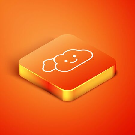 Isometric Cloud icon isolated on orange background. Vector Illustration Illustration