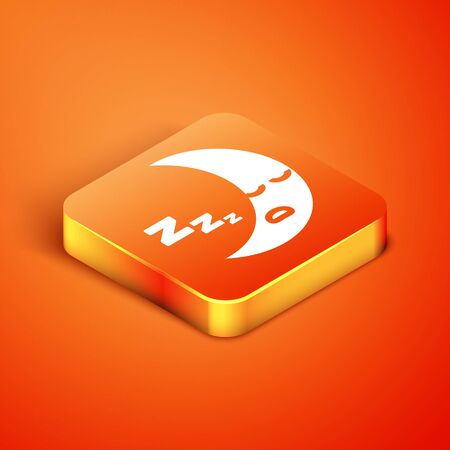 Isometric Moon icon isolated on orange background. Cloudy night sign. Sleep dreams symbol. Night or bed time sign. Vector Illustration 向量圖像