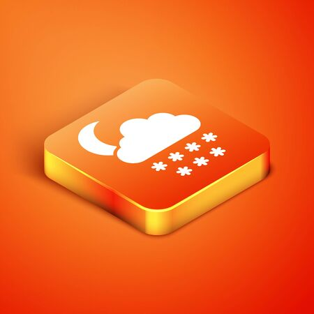 Isometric Cloud with snow and moon icon isolated on orange background. Cloud with snowflakes. Single weather icon. Snowing sign. Vector Illustration Illustration