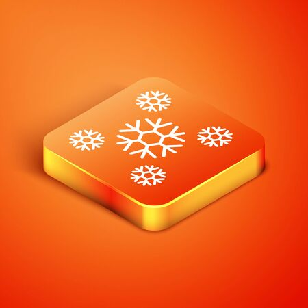 Isometric Snow icon isolated on orange background. Vector Illustration Banque d'images - 135490751
