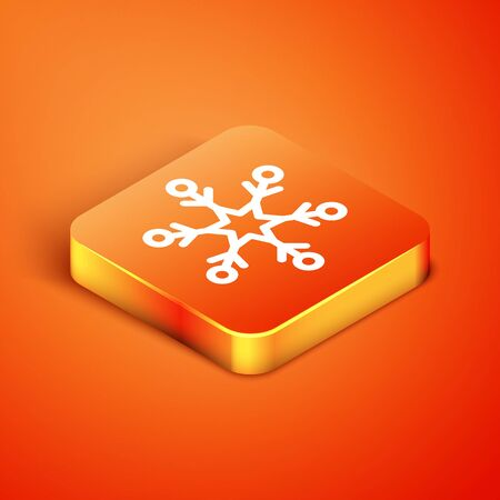 Isometric Snowflake icon isolated on orange background. Vector Illustration Banque d'images - 135490764