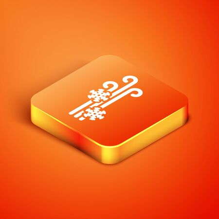 Isometric Wind and snow icon isolated on orange background. Windy weather. Vector Illustration Foto de archivo - 135490934