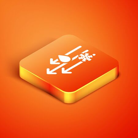 Isometric Wind and rain with snow icon isolated on orange background. Windy weather. Vector Illustration