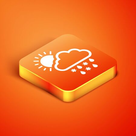 Isometric Cloud with snow, rain and sun icon isolated on orange background. Weather icon. Vector Illustration