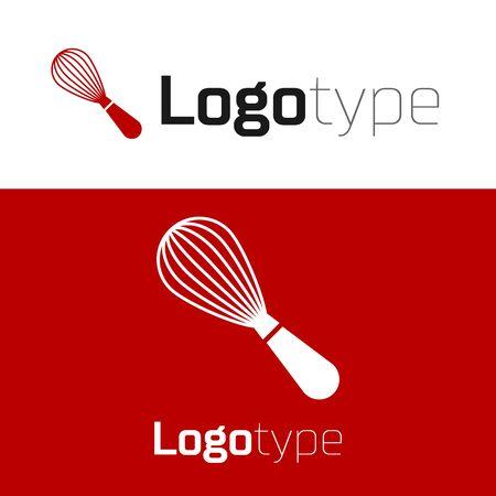 Red Kitchen whisk icon isolated on white background. Cooking utensil, egg beater. Vektorgrafik