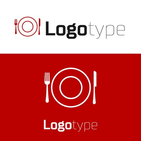 Red Plate, fork and knife icon isolated on white background. Cutlery symbol. Restaurant sign.
