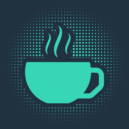 Green Coffee cup flat icon isolated on blue background. Tea cup. Hot drink coffee. Abstract circle random dots. Vector Illustration Illusztráció