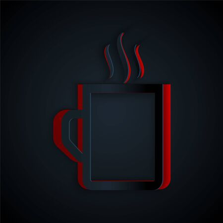 Paper cut Coffee cup flat icon isolated on black background. Tea cup. Hot drink coffee. Paper art style. Vector Illustration Illusztráció
