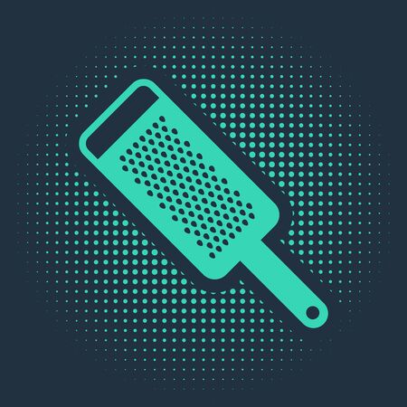 Green Grater icon isolated on blue background. Kitchen symbol. Cooking utensil. Cutlery sign. Abstract circle random dots. Vector Illustration