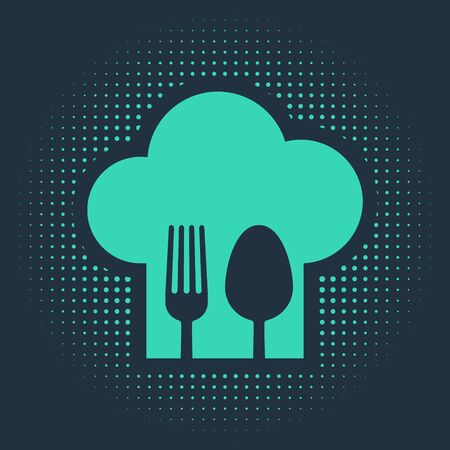 Green Chef hat with fork and spoon icon isolated on blue background. Cooking symbol. Restaurant menu. Cooks hat. Abstract circle random dots. Vector Illustration