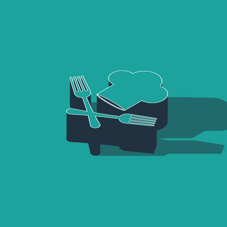 Isometric Chef hat and crossed fork icon isolated on green background. Cooking symbol. Restaurant menu. Cooks hat.  Vector Illustration