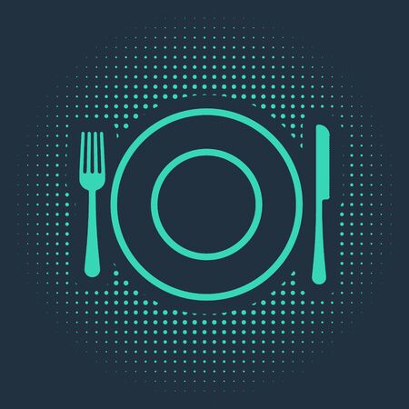 Green Plate, fork and knife icon isolated on blue background. Cutlery symbol. Restaurant sign. Abstract circle random dots. Vector Illustration