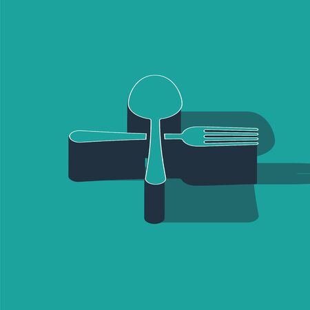 Isometric Crossed fork and spoon icon isolated on green background. Cooking utensil. Cutlery sign.  Vector Illustration Illusztráció