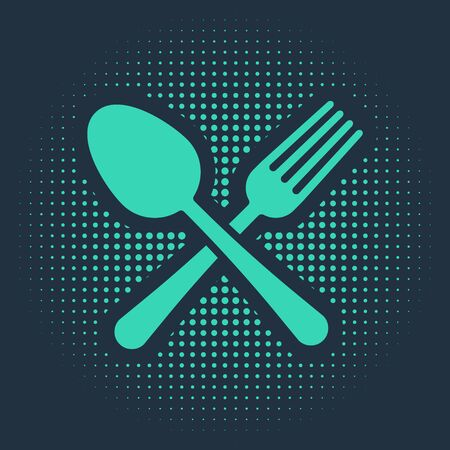 Green Crossed fork and spoon icon isolated on blue background. Cooking utensil. Cutlery sign. Abstract circle random dots. Vector Illustration Illusztráció
