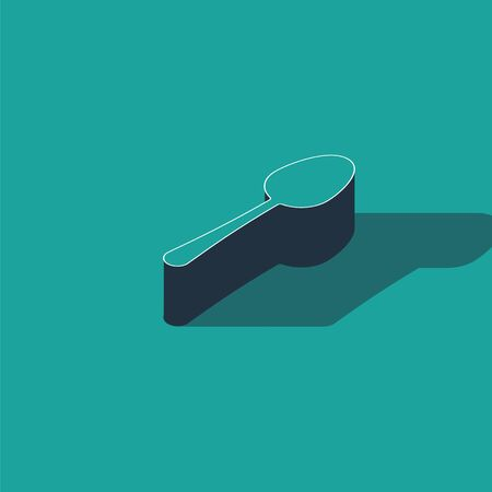 Isometric Spoon icon isolated on green background. Cooking utensil. Cutlery sign.  Vector Illustration Illusztráció