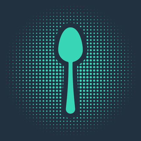 Green Spoon icon isolated on blue background. Cooking utensil. Cutlery sign. Abstract circle random dots. Vector Illustration