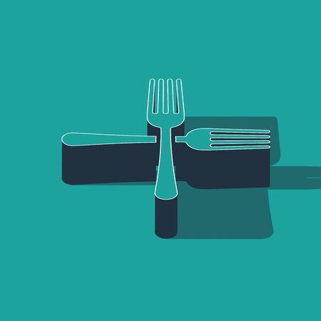 Isometric Crossed fork icon isolated on green background. Cutlery symbol.  Vector Illustration Illusztráció
