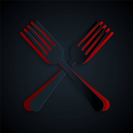 Paper cut Crossed fork icon isolated on black background. Cutlery symbol. Paper art style. Vector Illustration