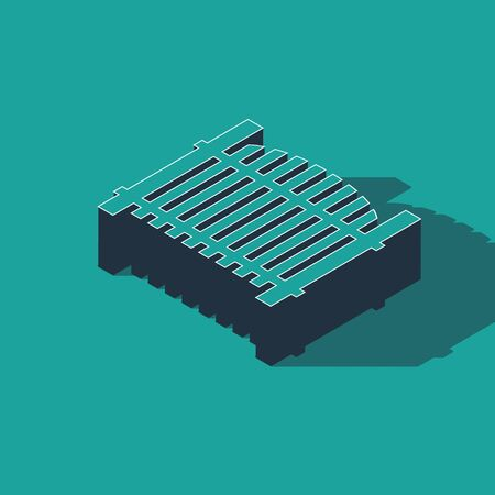 Isometric Garden fence wooden icon isolated on green background. Vector Illustration 向量圖像