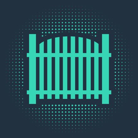 Green Garden fence wooden icon isolated on blue background. Abstract circle random dots. Vector Illustration