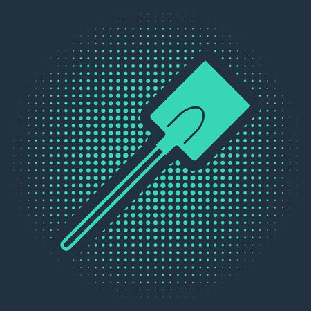 Green Garden shovel icon isolated on blue background. Gardening tool. Tool for horticulture, agriculture, farming. Abstract circle random dots. Vector Illustration