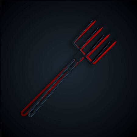 Paper cut Garden pitchfork icon isolated on black background. Garden fork sign. Tool for horticulture, agriculture, farming. Paper art style. Vector Illustration