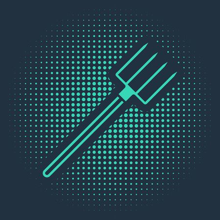 Green Garden pitchfork icon isolated on blue background. Garden fork sign. Tool for horticulture, agriculture, farming. Abstract circle random dots. Vector Illustration