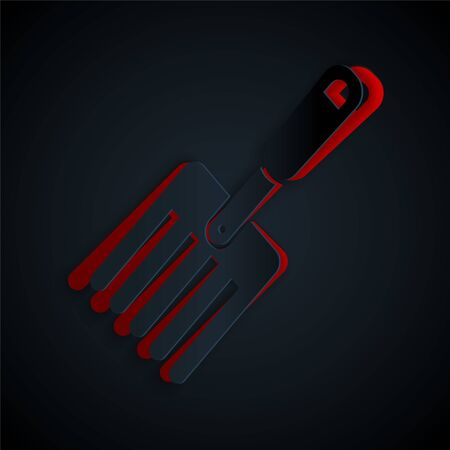 Paper cut Garden fork icon isolated on black background. Pitchfork icon. Tool for horticulture, agriculture, farming. Paper art style. Vector Illustration