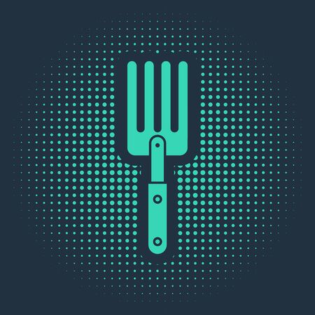 Green Garden fork icon isolated on blue background. Pitchfork icon. Tool for horticulture, agriculture, farming. Abstract circle random dots. Vector Illustration Illusztráció