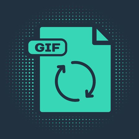 Green GIF file document. Download gif button icon isolated on blue background. GIF file symbol. Abstract circle random dots. Vector Illustration
