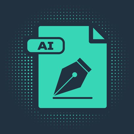 Green AI file document. Download ai button icon isolated on blue background. AI file symbol. Abstract circle random dots. Vector Illustration