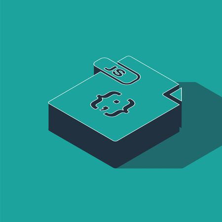 Isometric JS file document. Download js button icon isolated on green background. JS file symbol. Vector Illustration