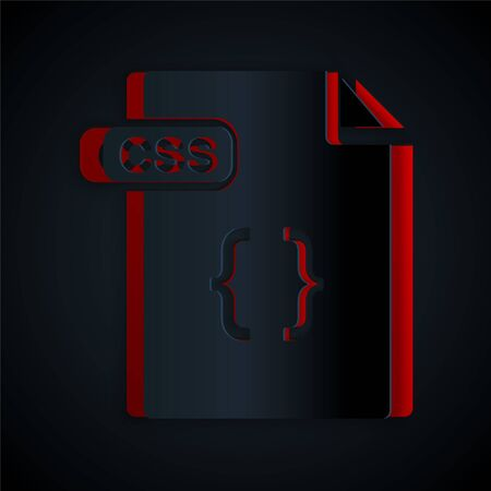 Paper cut CSS file document. Download css button icon isolated on black background. CSS file symbol. Paper art style. Vector Illustration 일러스트