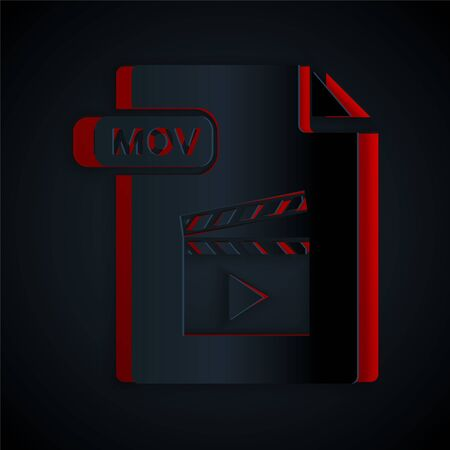 Paper cut MOV file document. Download mov button icon isolated on black background. MOV file symbol. Audio and video collection. Paper art style. Vector Illustration
