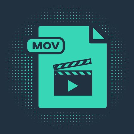 Green MOV file document. Download mov button icon isolated on blue background. MOV file symbol. Audio and video collection. Abstract circle random dots. Vector Illustration