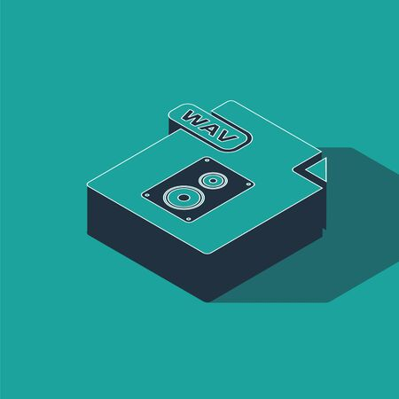 Isometric WAV file document. Download wav button icon isolated on green background. WAV waveform audio file format for digital audio riff files. Vector Illustration 일러스트