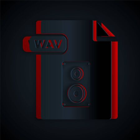 Paper cut WAV file document. Download wav button icon isolated on black background. WAV waveform audio file format for digital audio riff files. Paper art style. Vector Illustration