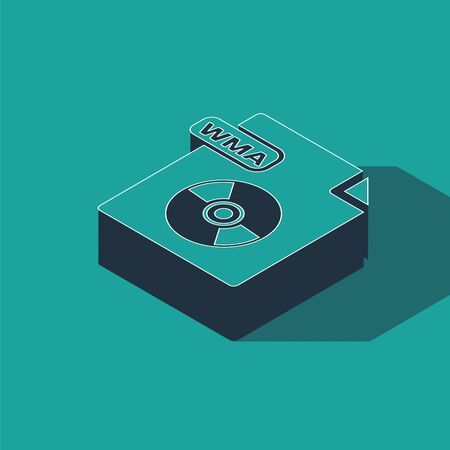 Isometric WMA file document. Download wma button icon isolated on green background. WMA file symbol. Wma music format sign. Vector Illustration 일러스트