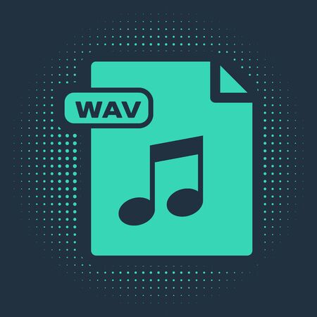 Green WAV file document. Download wav button icon isolated on blue background. WAV waveform audio file format for digital audio riff files. Abstract circle random dots. Vector Illustration