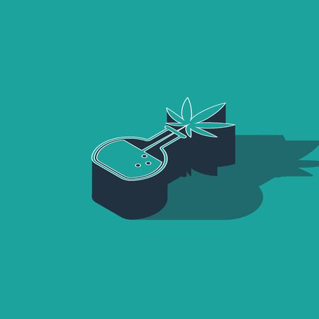 Isometric Chemical test tube with marijuana or cannabis leaf icon isolated on green background. Research concept. Laboratory CBD oil concept. Vector Illustration