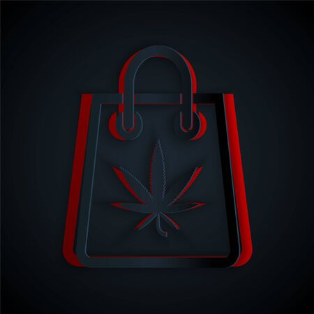 Paper cut Shopping paper bag of medical marijuana or cannabis leaf icon isolated on black background. Buying cannabis. Hemp symbol. Paper art style. Vector Illustration
