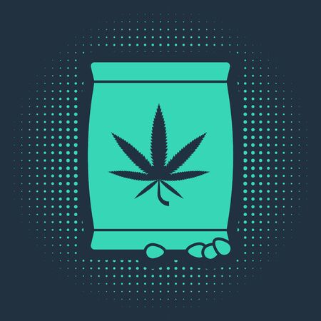 Green Marijuana or cannabis seeds in a bag icon isolated on blue background. Hemp symbol. The process of planting marijuana. Abstract circle random dots. Vector Illustration