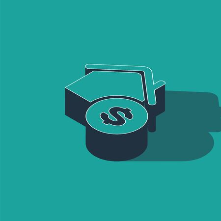 Isometric House with dollar symbol icon isolated on green background. Home and money. Real estate concept. Vector Illustration