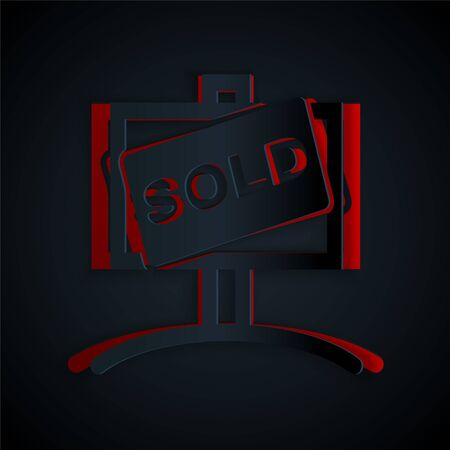 Paper cut Hanging sign with text Sold icon isolated on black background. Sold sticker. Sold signboard. Paper art style. Vector Illustration