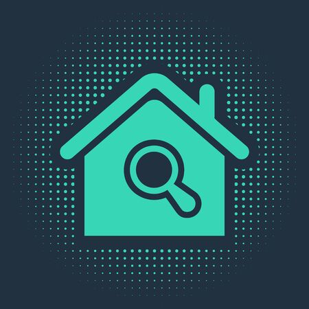 Green Search house icon isolated on blue background. Real estate symbol of a house under magnifying glass. Abstract circle random dots. Vector Illustration