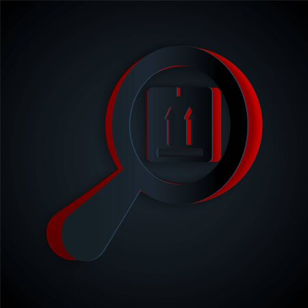 Paper cut Search package icon isolated on black background. Parcel tracking symbol. Magnifying glass and cardboard box. Logistic and delivery. Paper art style. Vector Illustration Ilustração