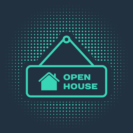 Green Hanging sign with text Open house icon isolated on blue background. Signboard with text Open house. Abstract circle random dots. Vector Illustration